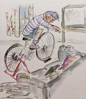 cycling indoors lockdown cartoon