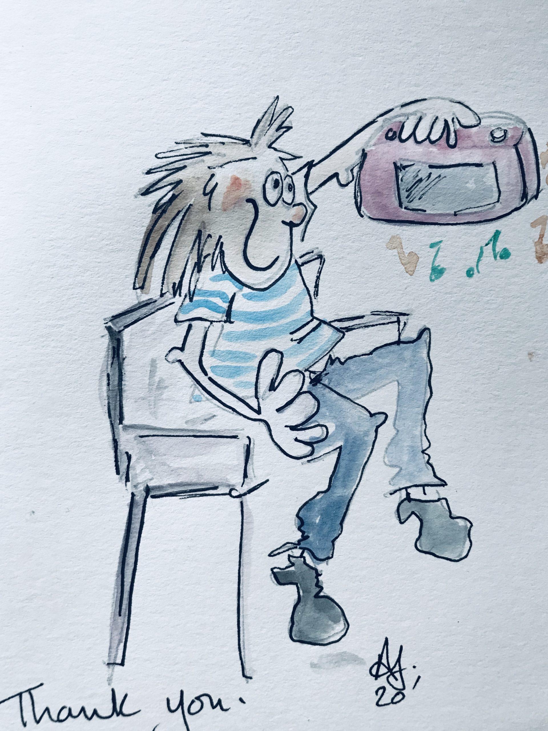 Radio repair cartoon image