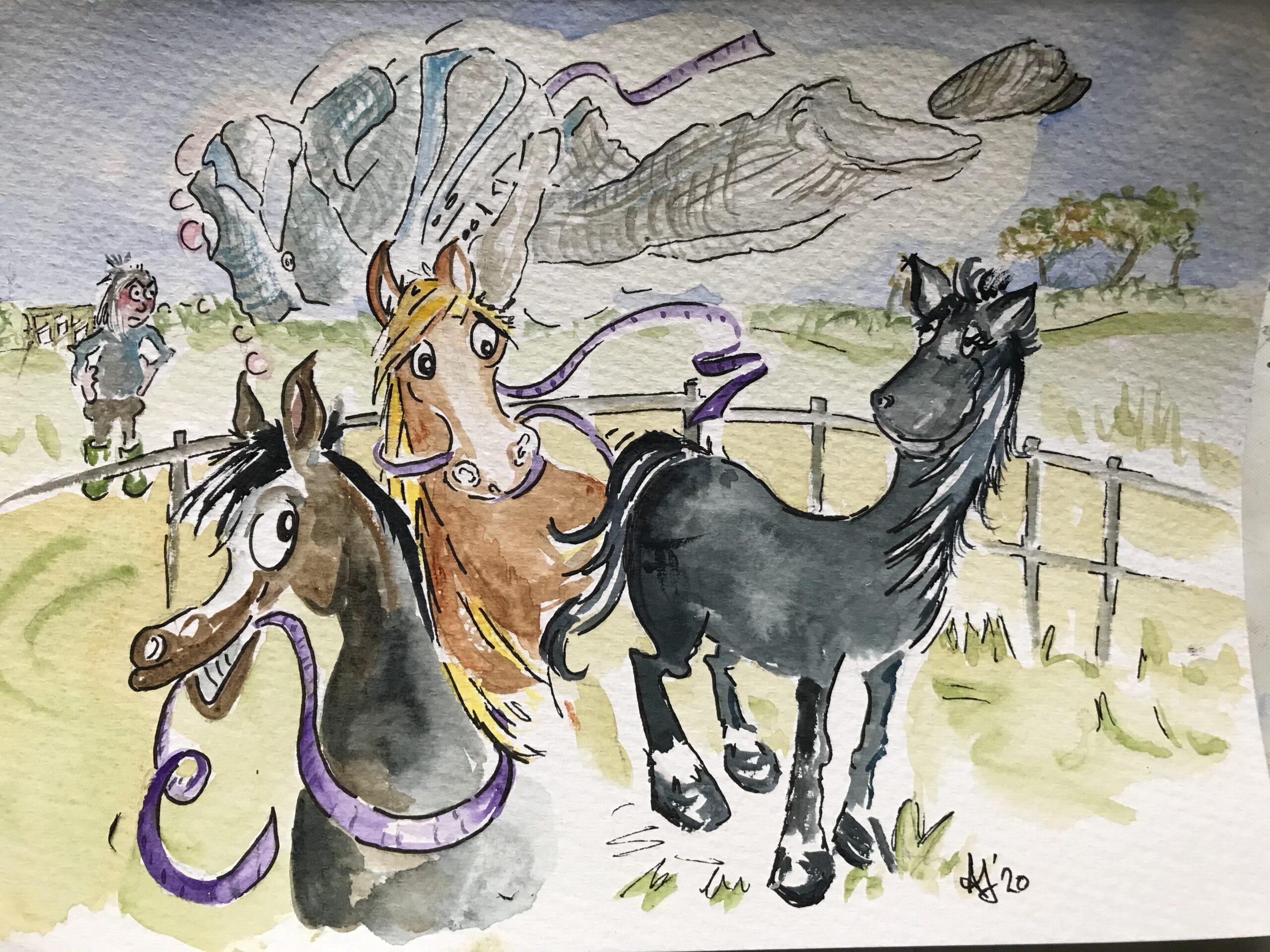 Cartoon drawing horses