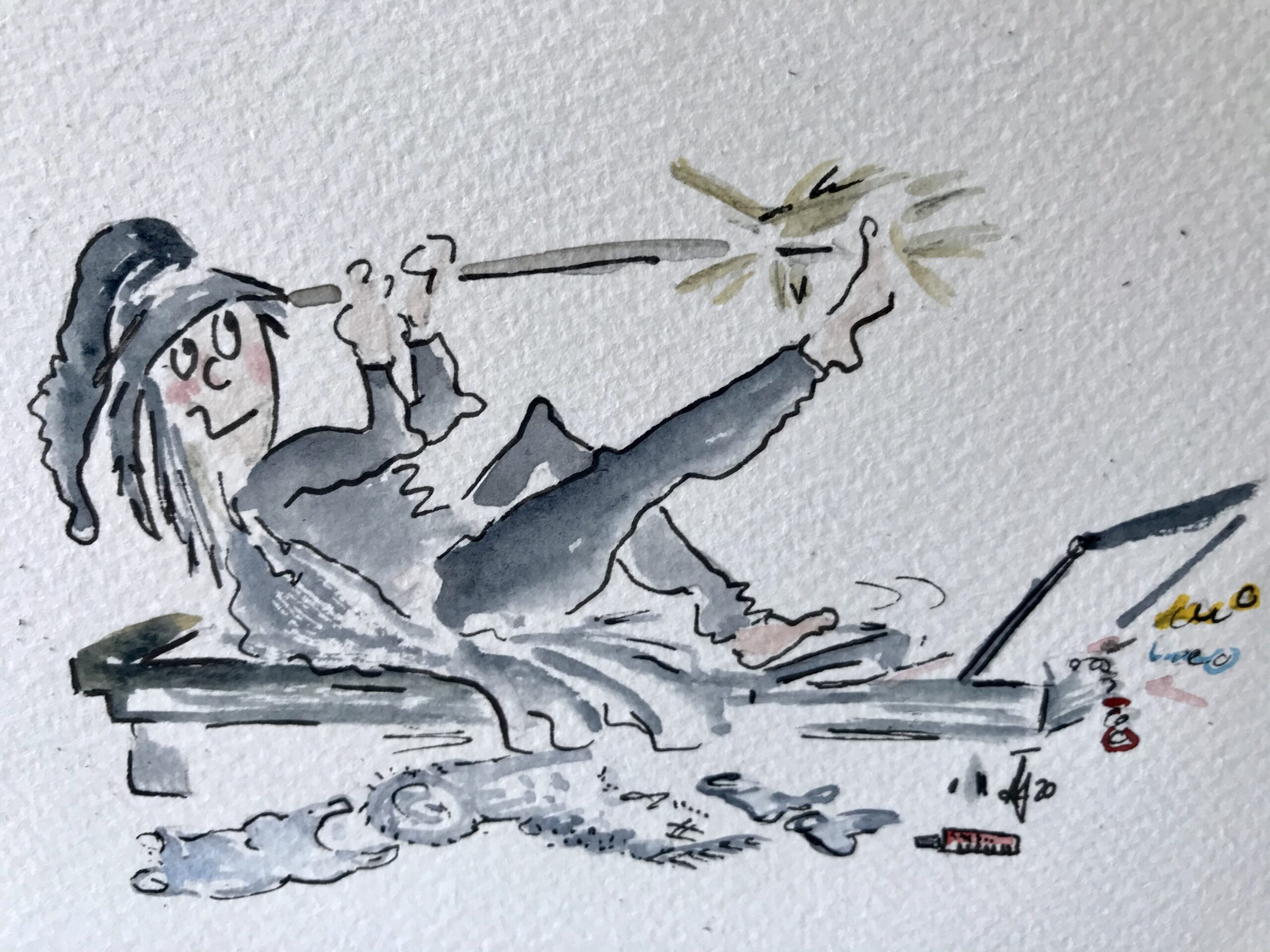 Witch repairs cartoon drawing