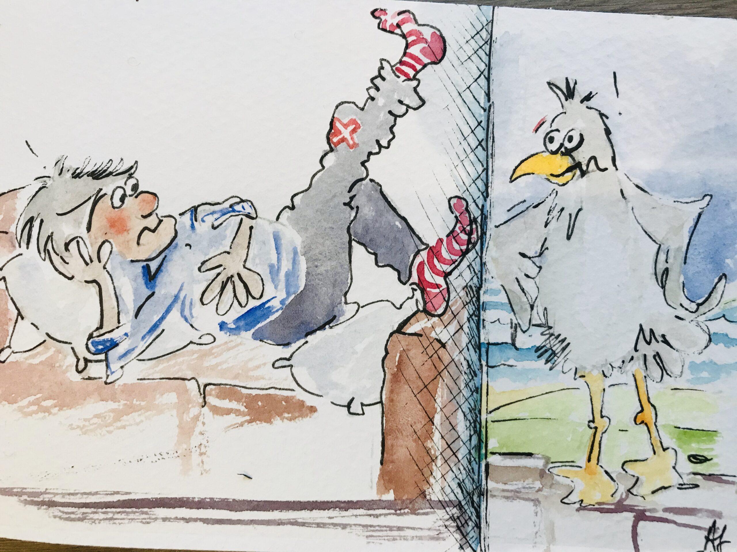 Raymond wants his breakfast cartoon drawing