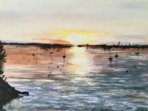 Loe Beach Cornwall acrylic by Ann Force