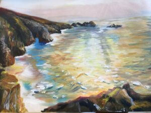 Porthcurno in Cornwall acrylic by Ann Force