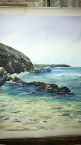 Porthcurno in acrylic by Ann Force