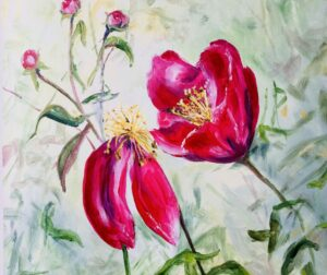 Acrylic flowers summer ends by Ann Force