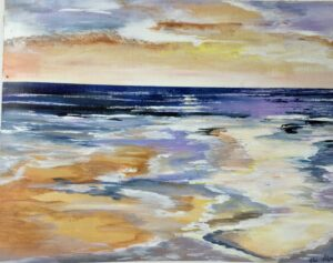 Cornwall beach sunset in acrylic by Ann Force