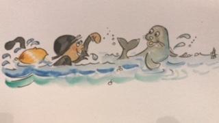 cartoon animals seal swimming