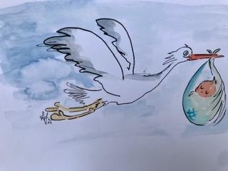 cartoon animals new baby sleeps stork