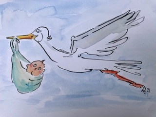 cartoon animals new baby stork